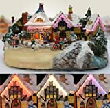 Christmas Snow Village Ice Skaters Paradise Fiber Optic LED Buildings