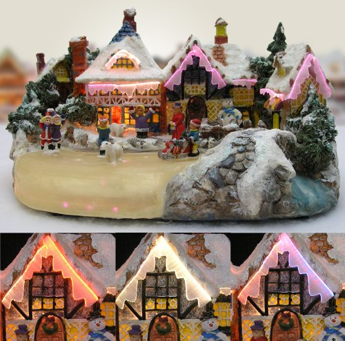 Christmas Snow Village Ice Skaters Paradise Fiber Optic LED Buildings (Holiday Village)