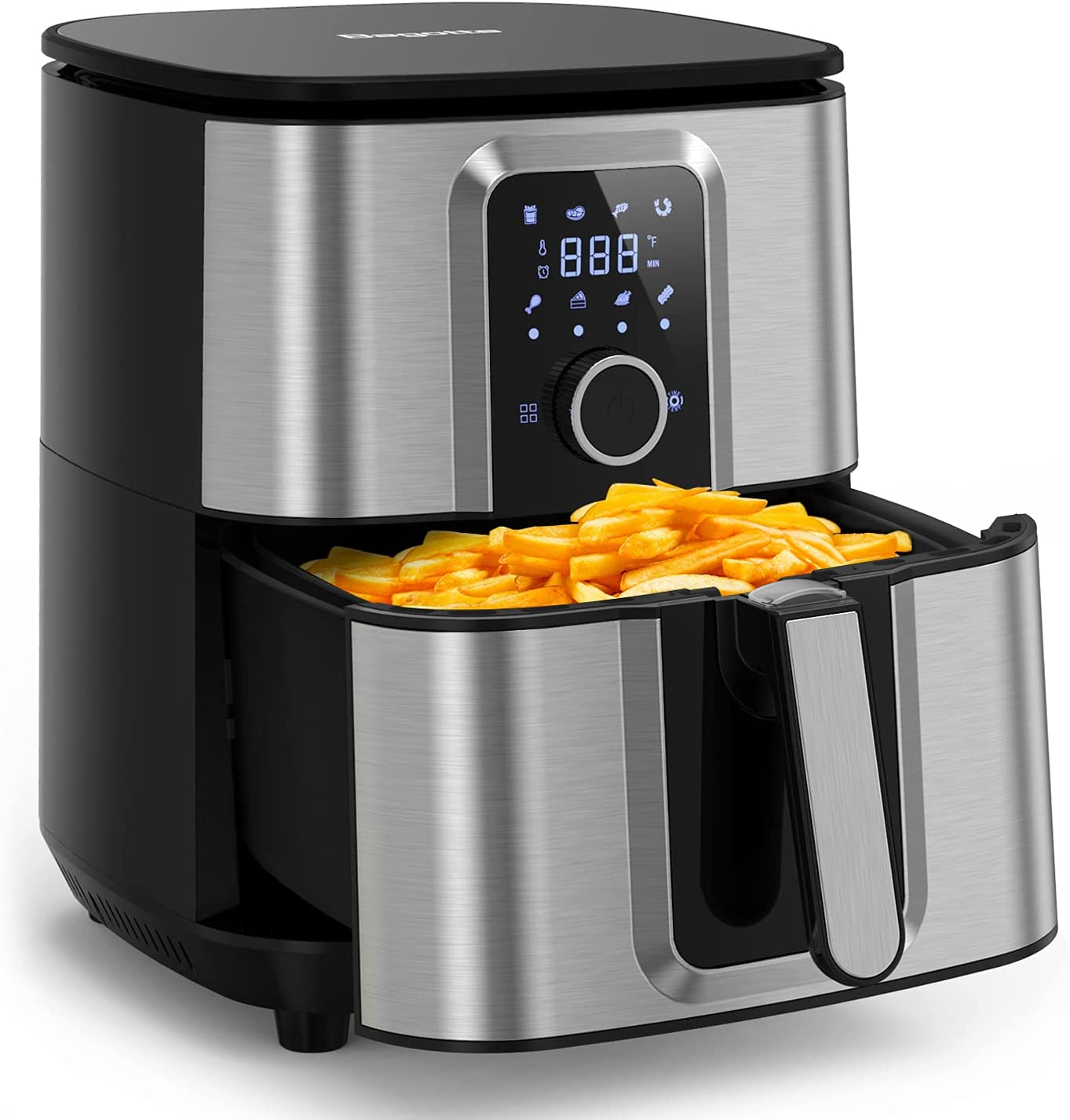 Air Fryer, 8 One-Touch Programs, 5.8 Quart, Stainless Steel Electric Hot Large Air Fryers Oven Oilless Cooker, Knob Controls & Touch Screen, 1700W, 100 Recipes