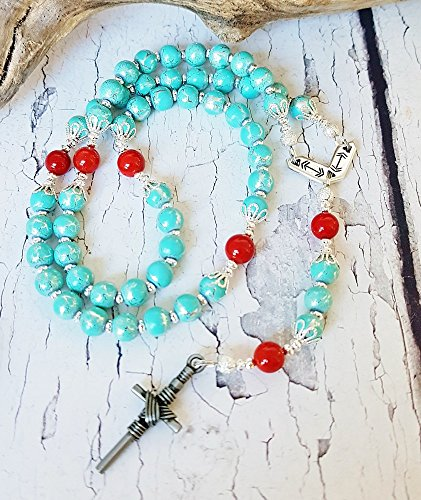 Turquoise Handmade Rosary Easter Good Friday Inspirational Womens Gift First Nations Pocket Rosary Tribal Native American Catholic Gifts