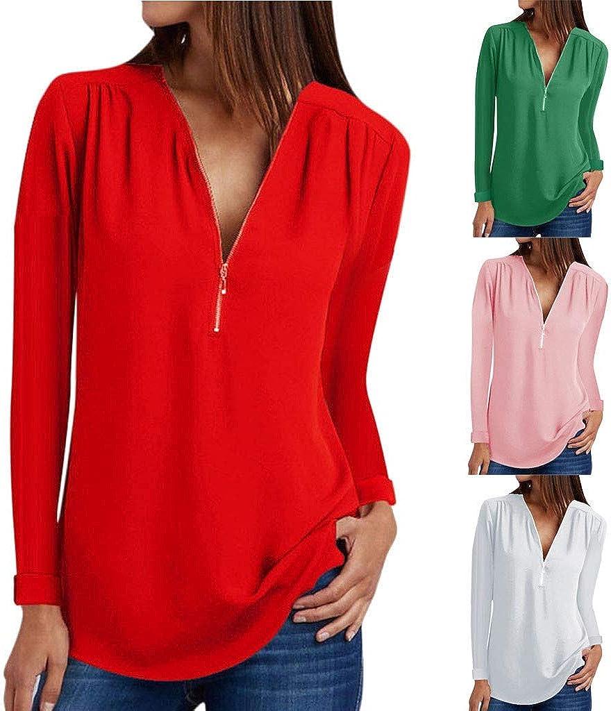Chic - Camiseta de Manga Larga con Cremallera para Mujer Rojo S: Amazon.es: Ropa y accesorios