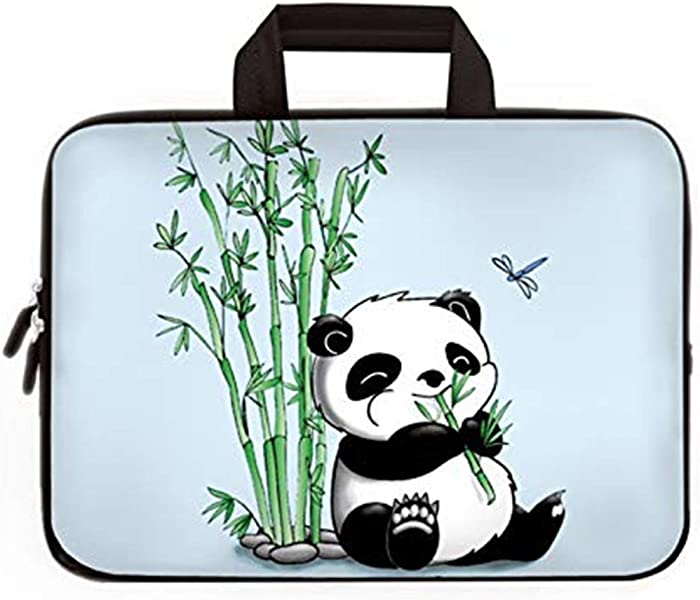14 15 15.4 15.6 inch Laptop Handle Bag Computer Protect Case Pouch Holder Notebook Sleeve Neoprene Cover Soft Carrying Travel Case for Dell Lenovo Toshiba HP Chromebook ASUS Acer (Panda & Bamboo)