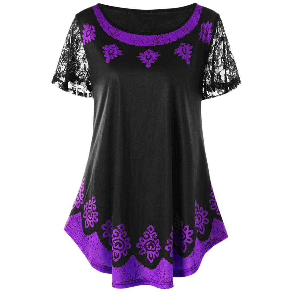 Hot! Women Casual Tribal Print T-shirt GoodLock Ladies Fashion Lace Plus Size O-Neck Short Sleeve Tops Blouse