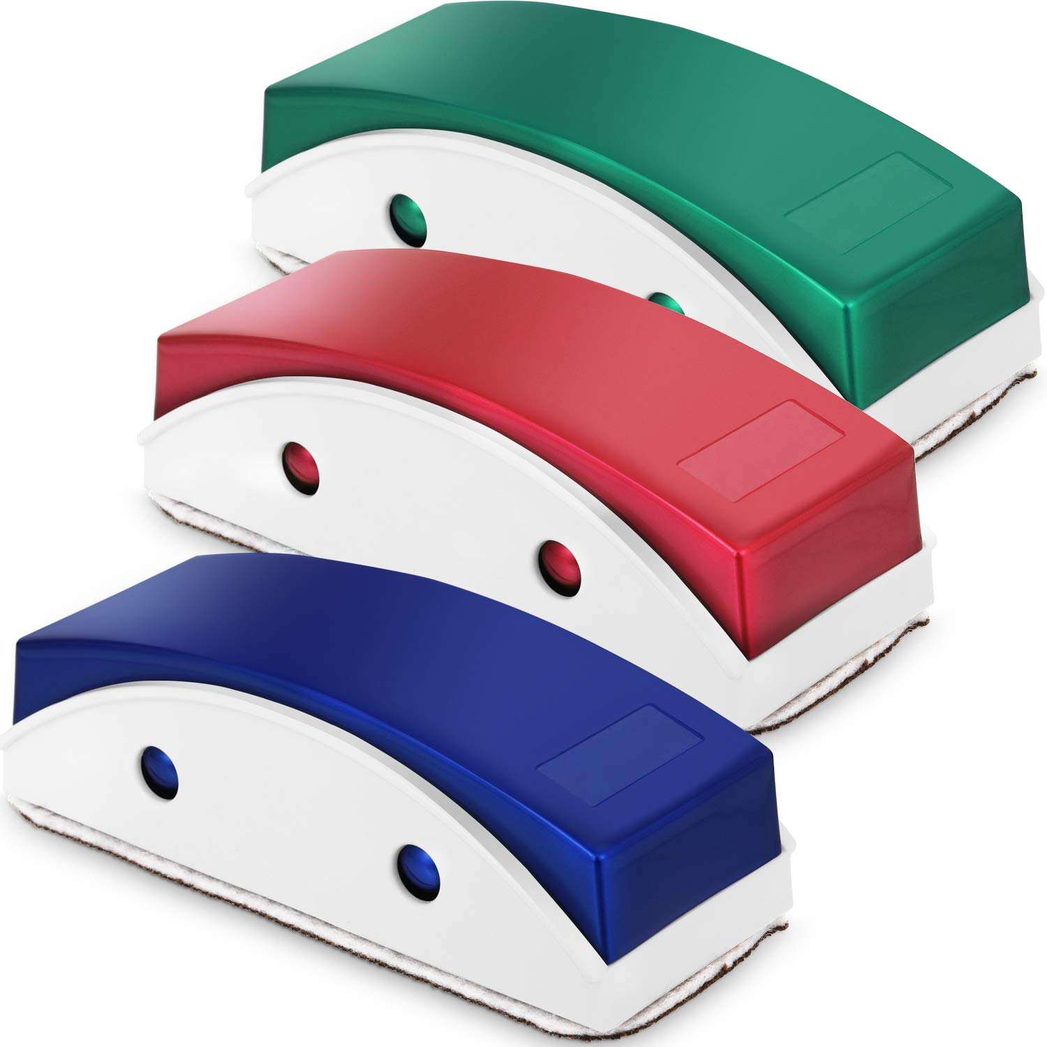 Blue, Green and Red, 3 Pieces Magnetic Whiteboard Eraser Dry Erase Eraser Chalkboard Eraser Cleaner with Cleaning Cloth Replacement for Classroom Offices Supplies