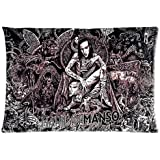 Creative Simple Marilyn Manson Custom Rectangle Pillowcase Pillow Cases Cover 20x30 (one side) Standard Size