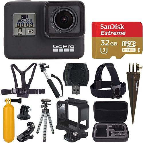 GoPro HERO7 Black Digital Action Camera with 4K HD Video 12MP Photos, SanDisk 32GB Micro SD Card, Hard Case – Gopro Hero 7 Accessory Bundle