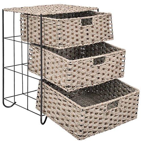Moon_Daughter Big Capacity Box 3 Shelf Rattan Baskets Tower