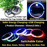 (Pack of 1) Solar Energy LED Car Cup Holder Mat Trim Interior Atmosphere lights lighting lamps for honda pilot hrv ridgeline CR-Z insight crosstour vezel accord civic crv accessories