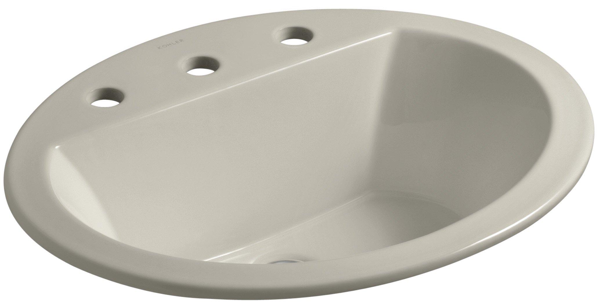 KOHLER K-2699-8-G9 Bryant Oval Self-Rimming Bathroom Sink with 8'' Centers, Sandbar