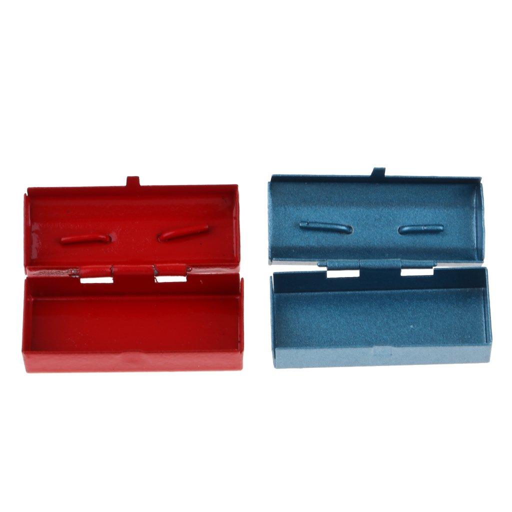 Dollhouse Miniature Blue Metal Box with Lid