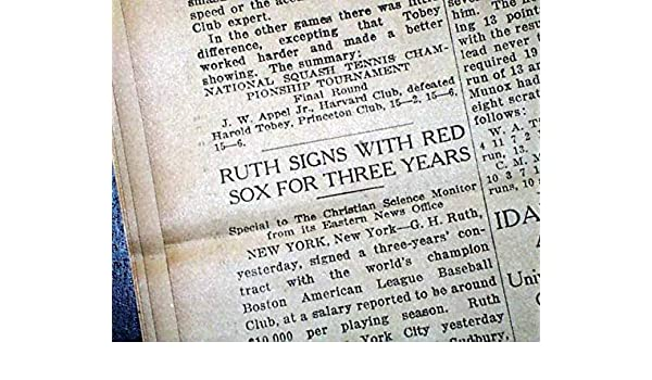 Special Section Babe Ruth Final Boston Red Sox Contract Signing Mlb Baseball 1919 Old Newspaper Sports Mem, Cards & Fan Shop