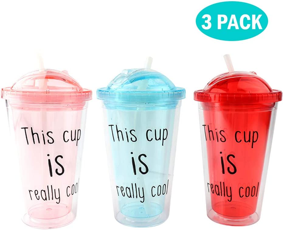 Vech 3 Pack Insulated Travel Tumbler With Reusable Silicone Straw Cooling Cup,Double Wall Freezer Mug,Reusable Silica Gel Straw,Push Cover Design Travel Cup,16 oz