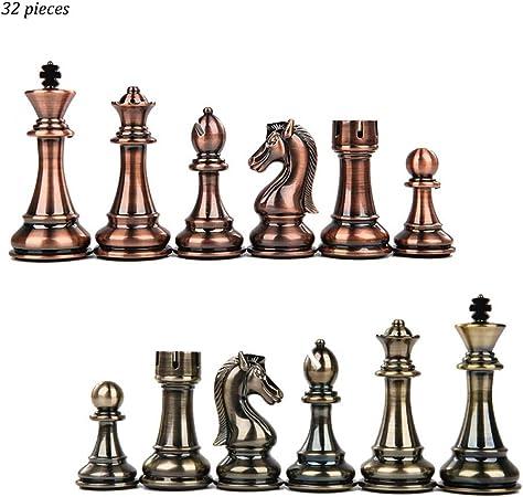 LOFAMI Juegos de Mesa Ajedrez Damas de aleación de Zinc Beige y marrón de 32 Piezas Piezas de ajedrez Niños Desarrollo Intelectual Aprender Juguetes Damas de ajedrez Ajedrez (Color : Brass+Bronze): Amazon.es:
