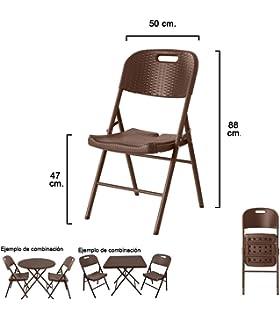 Resol Easy Rattan - Set de 4 sillas plegables, plástico, 54 ...