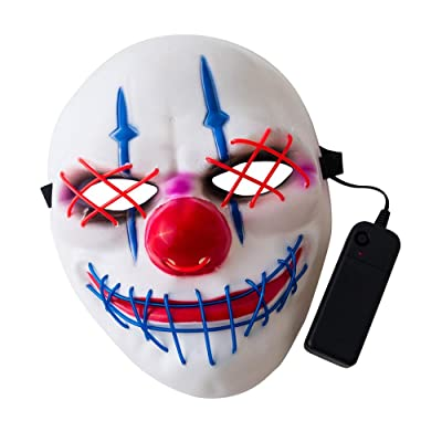 Decdeal Cosplay Led Light Up Costume Halloween Mask for Festival Dance Parties Costume Birthday Party Decoration: Home & Kitchen