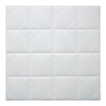 Papel Pintado Ladrillo 3D Blanco WINOMO Baldosas Azulejos Adhesivos Pegatinas de Pared Espuma Impermeable 60x60cm: Amazon.es: Hogar