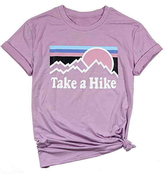 c62276ef3 Amazon.com: Take a Hike T Shirts Womens Funny Vacation Camping Shirts  Casual Short Sleeve Graphic Tees Tops: Clothing