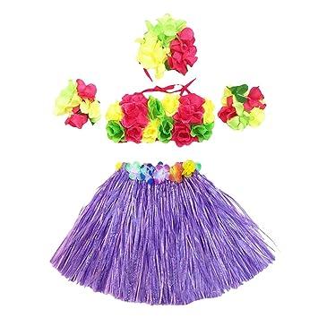 b45eae3709a8 5pcs Tropical Hula Grass Skirt Set Flower Leis Necklace Headband Bracelets  Luau Skirts Set Hawaii Costume
