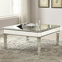 1PerfectChoice Contemporary Square Silver Mirrored Coffee Table