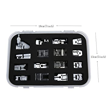 icase4u® Kit de 16 Piezas Multifuncionales Prensatelas Accesorios de Máquina de Coser Sewing Machine Presser Foot Feet Kit Set For Brother Singer Janome: ...