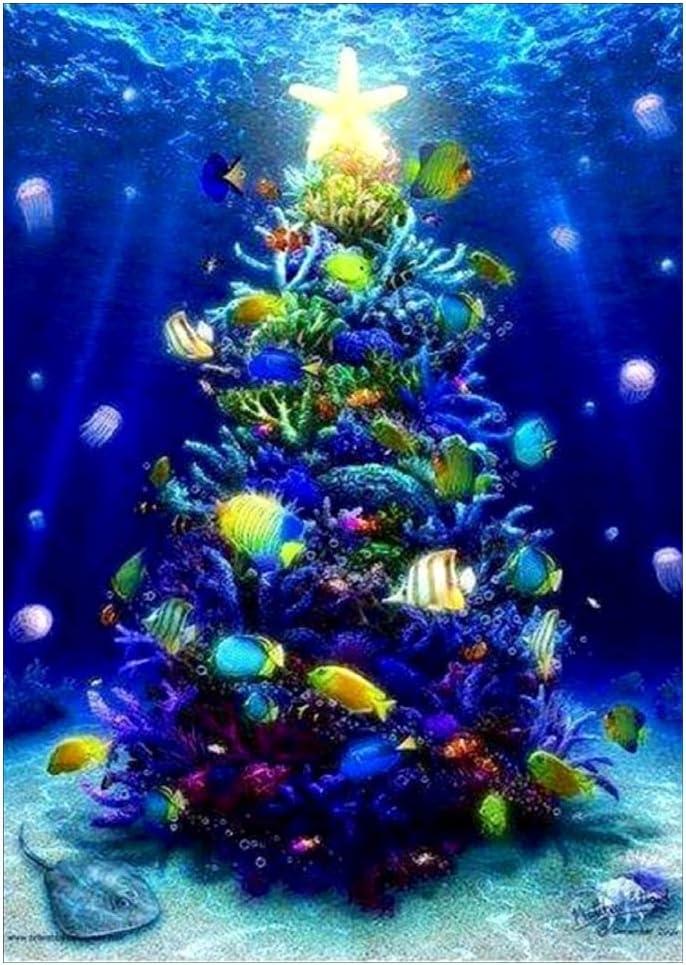 Simdoc - Árbol de Navidad de fondo de mar 5D con bordado de ...