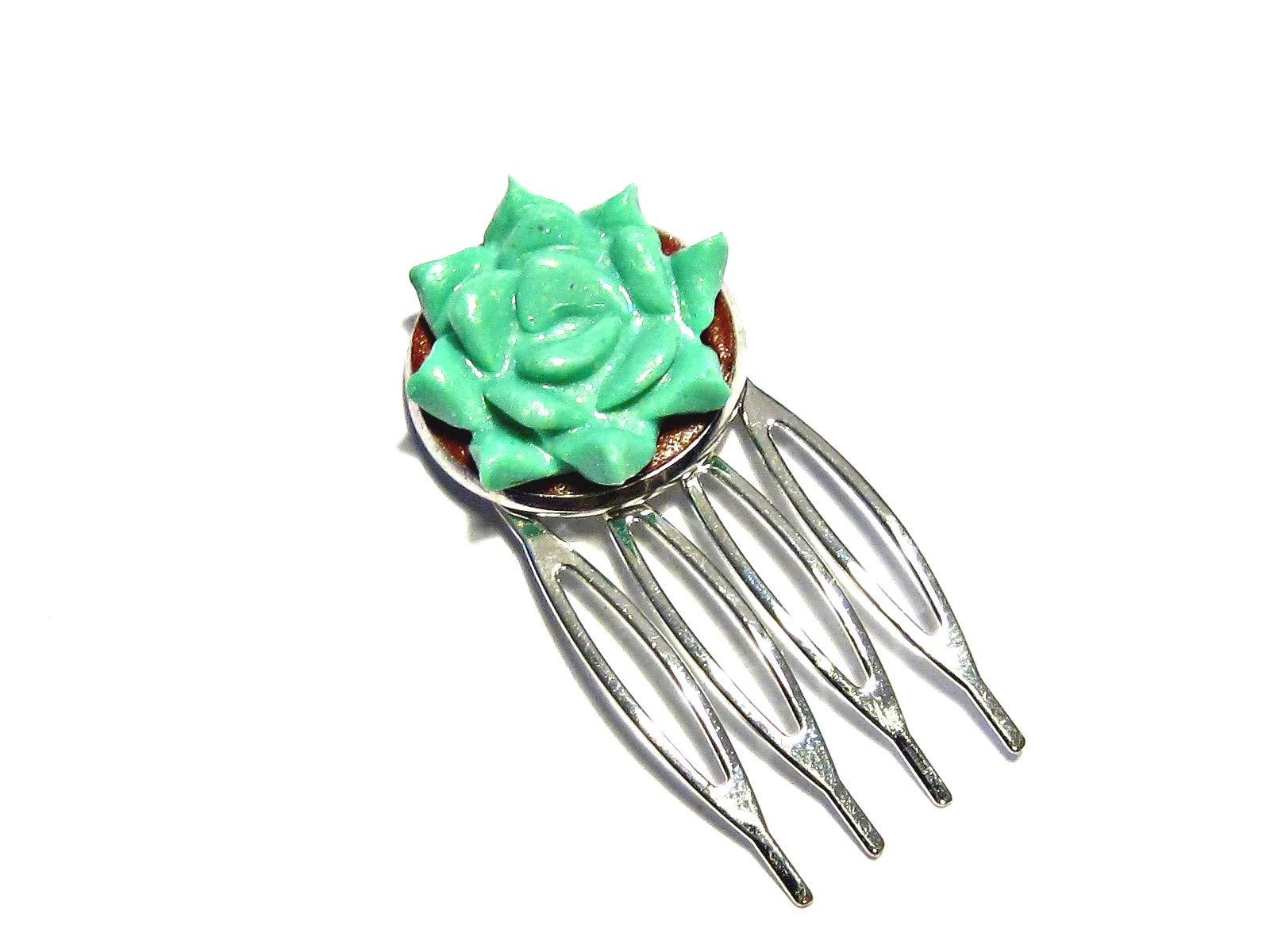 Succulent Comb - Turquoise - Tiny Food Jewelry