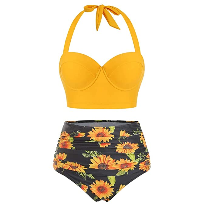 Rambling Women Vintage Two Piece Swimsuits High Waisted Sunflower Printed Bottom Bathing Suits with Underwired Top