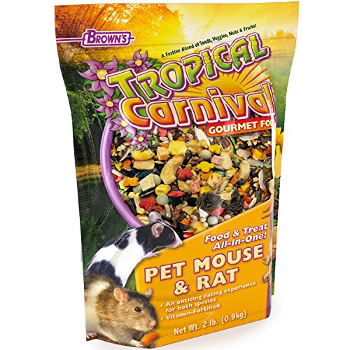 F.M. Brown's Tropical Carnival Gourmet Pet Mouse and Rat Food with Fruits, Veggies, Seeds, and Grains, Vitamin-Nutrient Fortified Daily Diet, 2lb