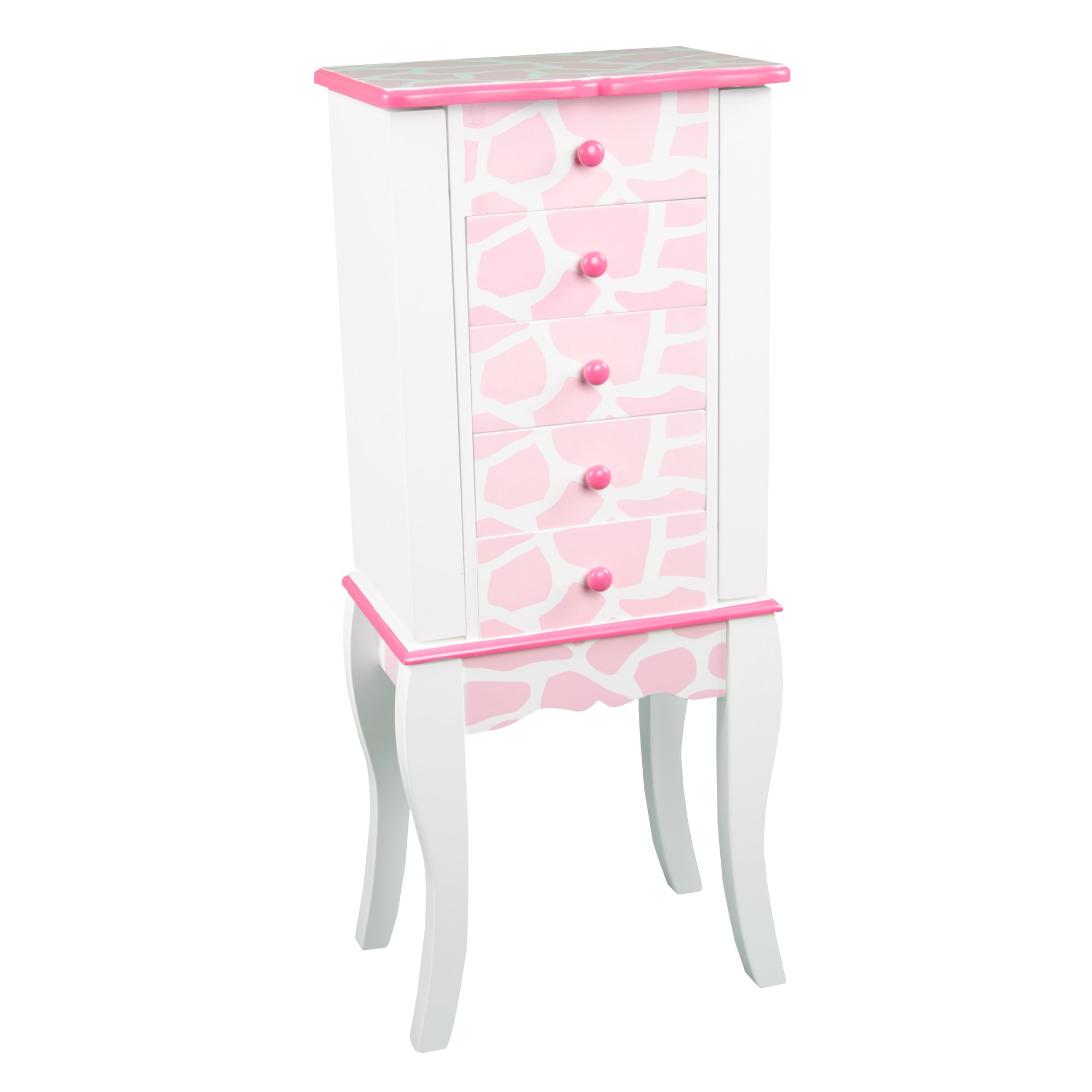 Teamson Kids - Fashion Prints Jewelry Armoire with Mirror 1 piece for Kids Giraffe (Baby Pink / White)