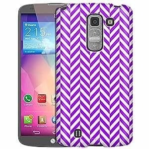 LG G Pro 2 Case, Slim Fit Snap On Cover by Trek Chevron Mini Purple White Case
