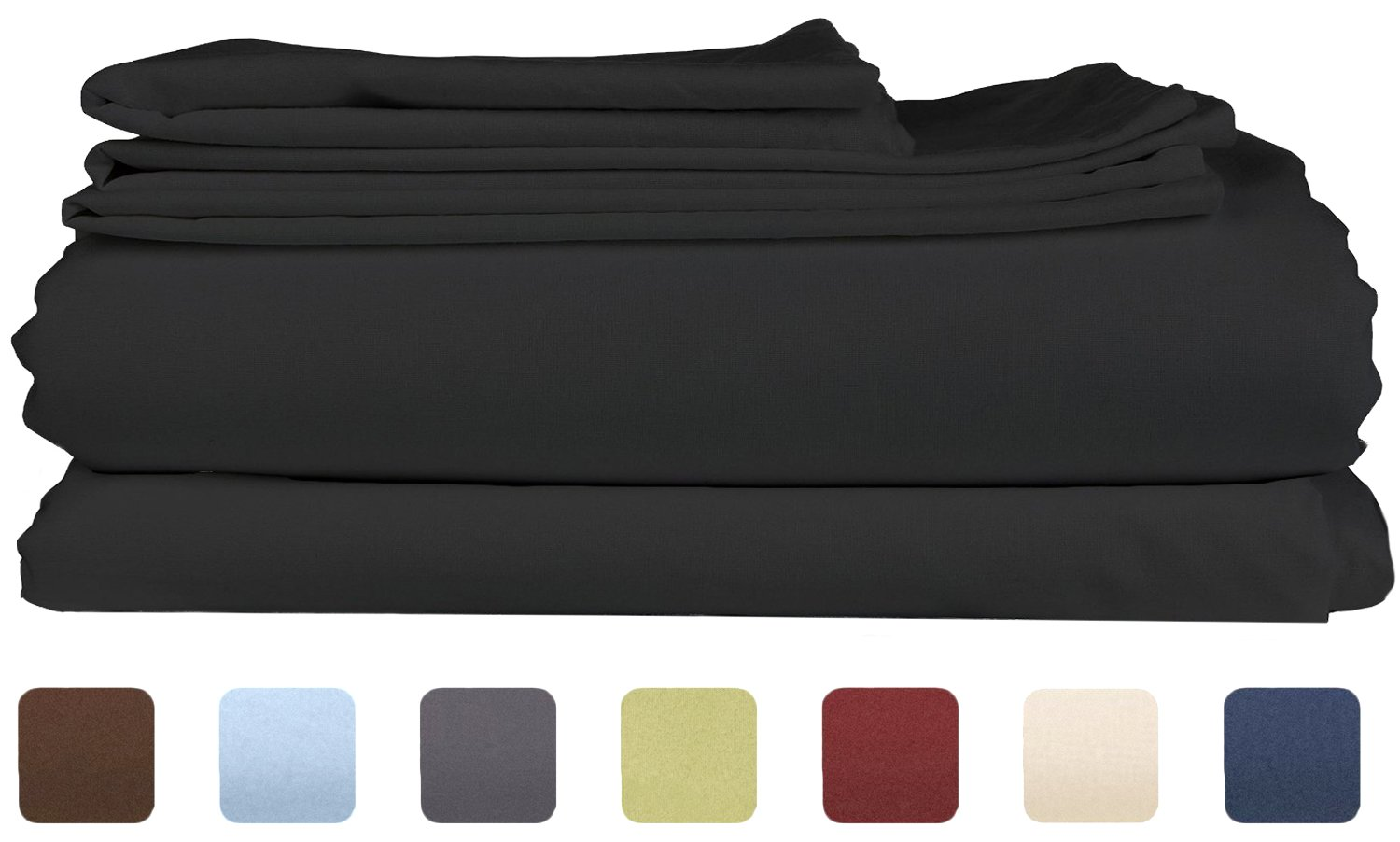 Queen Size Sheet Set - 6 Piece Set - Hotel Luxury Black Bed Sheets