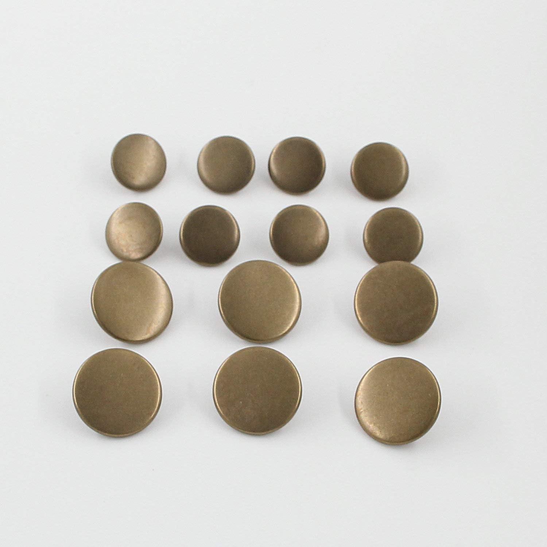15mm,20mm, Antique Brass Leekayer 14PCS Metal Flat Button Women Suit Woolen Coat Button Male Jacket Button Shirt Suit Trousers Button Round Shaped Sewing Button