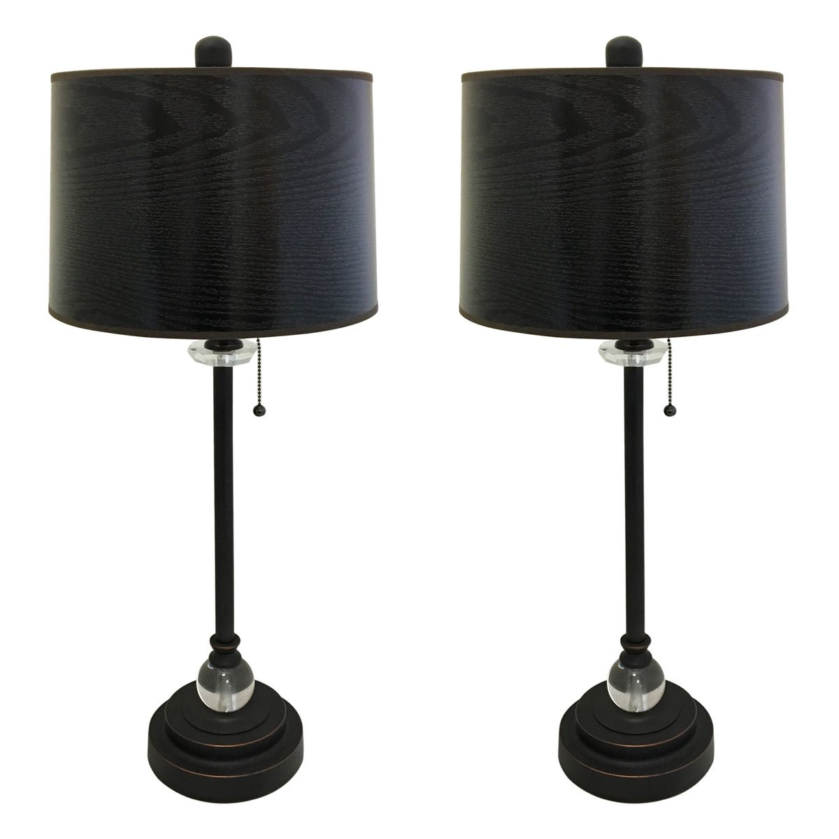 Royal Designs 28'' Crystal and Oil Rub Bronze Lamp with Black Wood Texture Hardback Lamp Shade, Set of 2 by Royal Designs, Inc