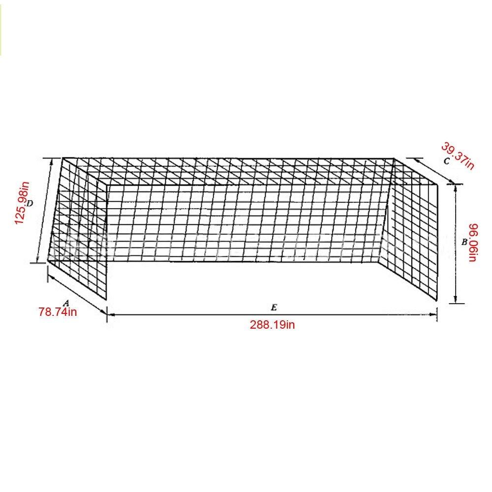 フルサイズ24 x 8 ft PE Netサッカーサッカーゴールポストネットスポーツトレーニング一致 B078BYNQ7V