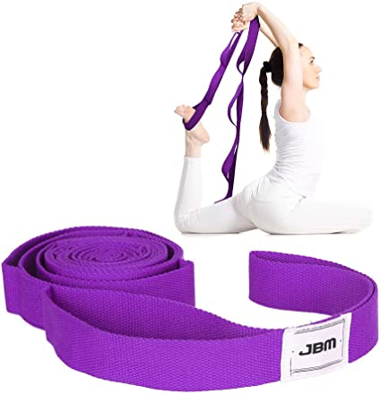 JBM Stretching Exercise Strap with 10/Flexible Loops Thicken Exercise Band Gravity Fitness Stretching Strap Physical Therapist Recommended Exercises and Pilates Workouts 5 Colors