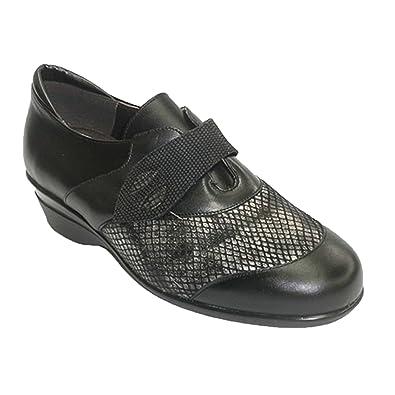 Chaussure Femme Manuel Almazan Avec Velcro Et Pelle Orthopédiques Spéciales Semelles Taille 38 Noir Lycra USySXjL