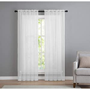 GoodGram 2 Pack: Basic Rod Pocket Sheer Voile Window Curtain Panels in White (84 in. Long)