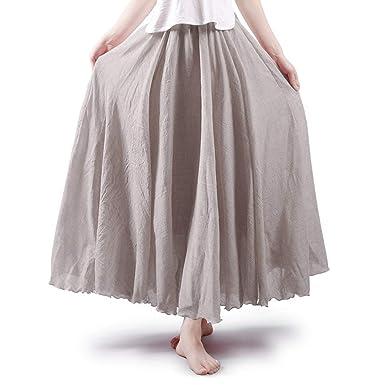 57412632fc Daxvens Women's Bohemian Elastic Waist Cotton Linen Flowy Long Maxi Skirt  Beige