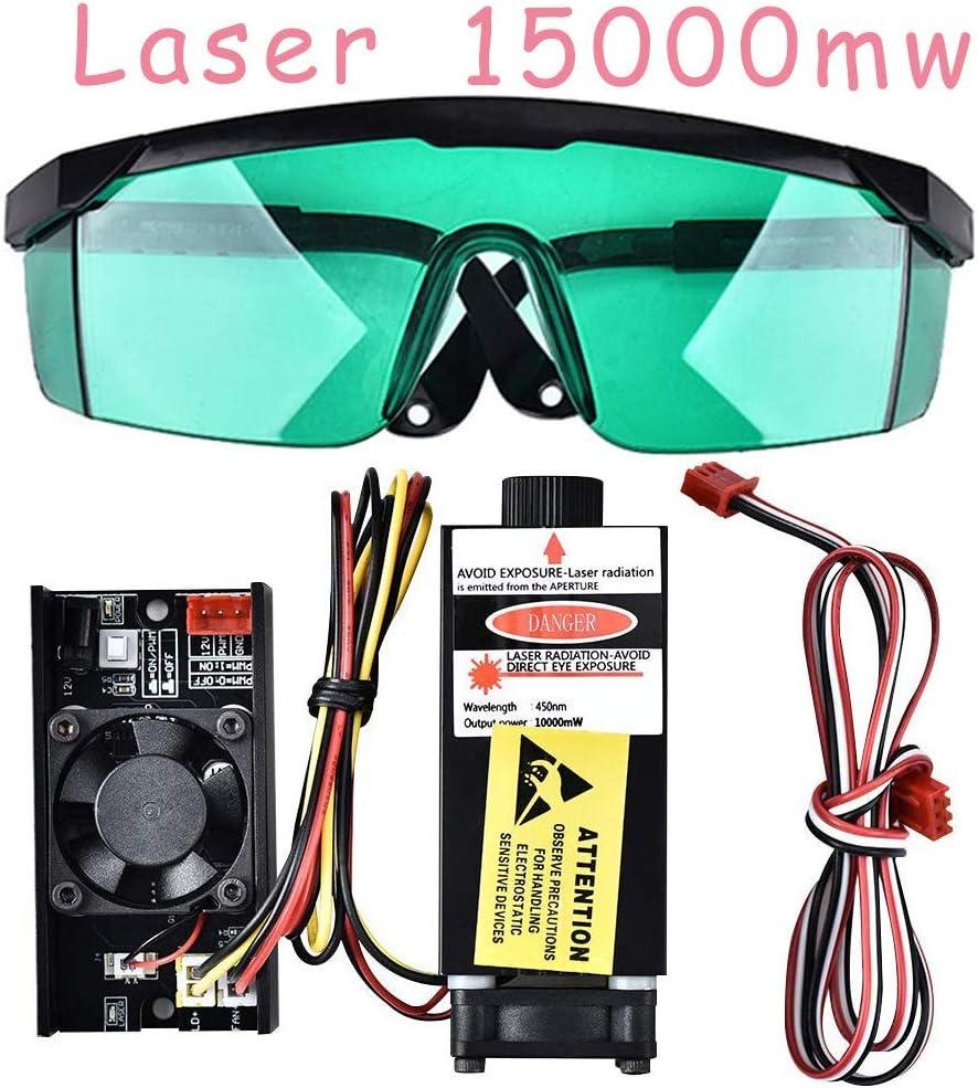 4YANG Máquina de bricolaje CNC Router CNC Máquina de corte y grabado en madera Logotipo de bricolaje Kits grabador láser CNC (15000mW Módulo láser + gafas)