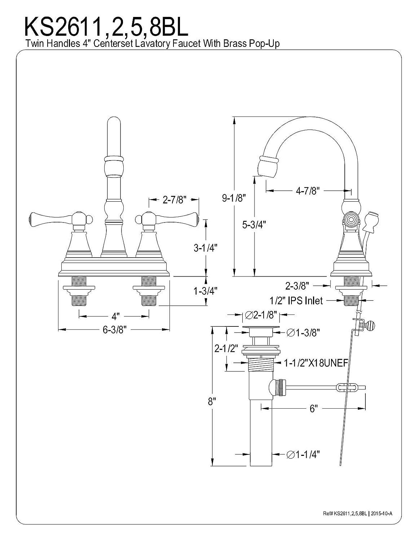 Kingston Brass KS2612BL Vintage 4-Inch Centerset Lavatory Faucet with Brass Pop-Up Polished Brass