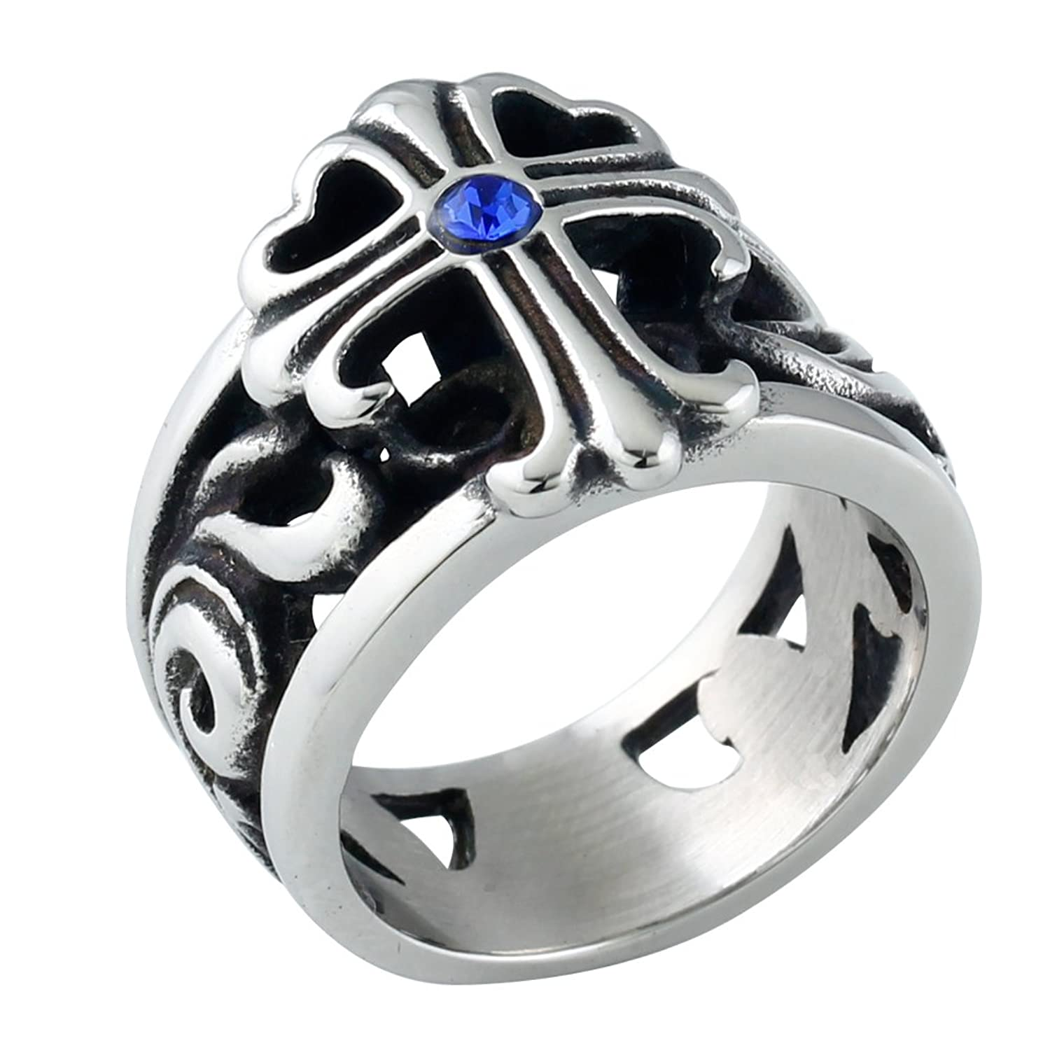 BOHO Jewelry Mens Vinatge Stainless Steel Cross Cz Ring, Black Silver