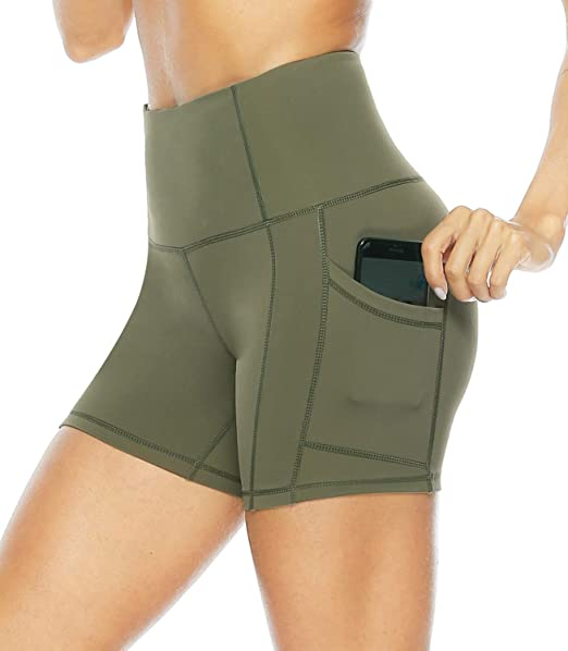 Persit Womens High Waist Workout Yoga Shorts with Side & Inner Pockets, Non See-Through Tummy Control Athletic Shorts