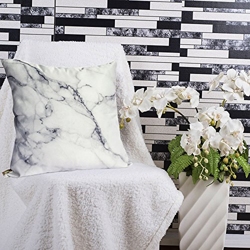 OJIA Luxury Home Decorative Soft Silky Satin Marble Texture Personalized Throw Cushion Cover / Pillow Sham (20 X 20 Inch)