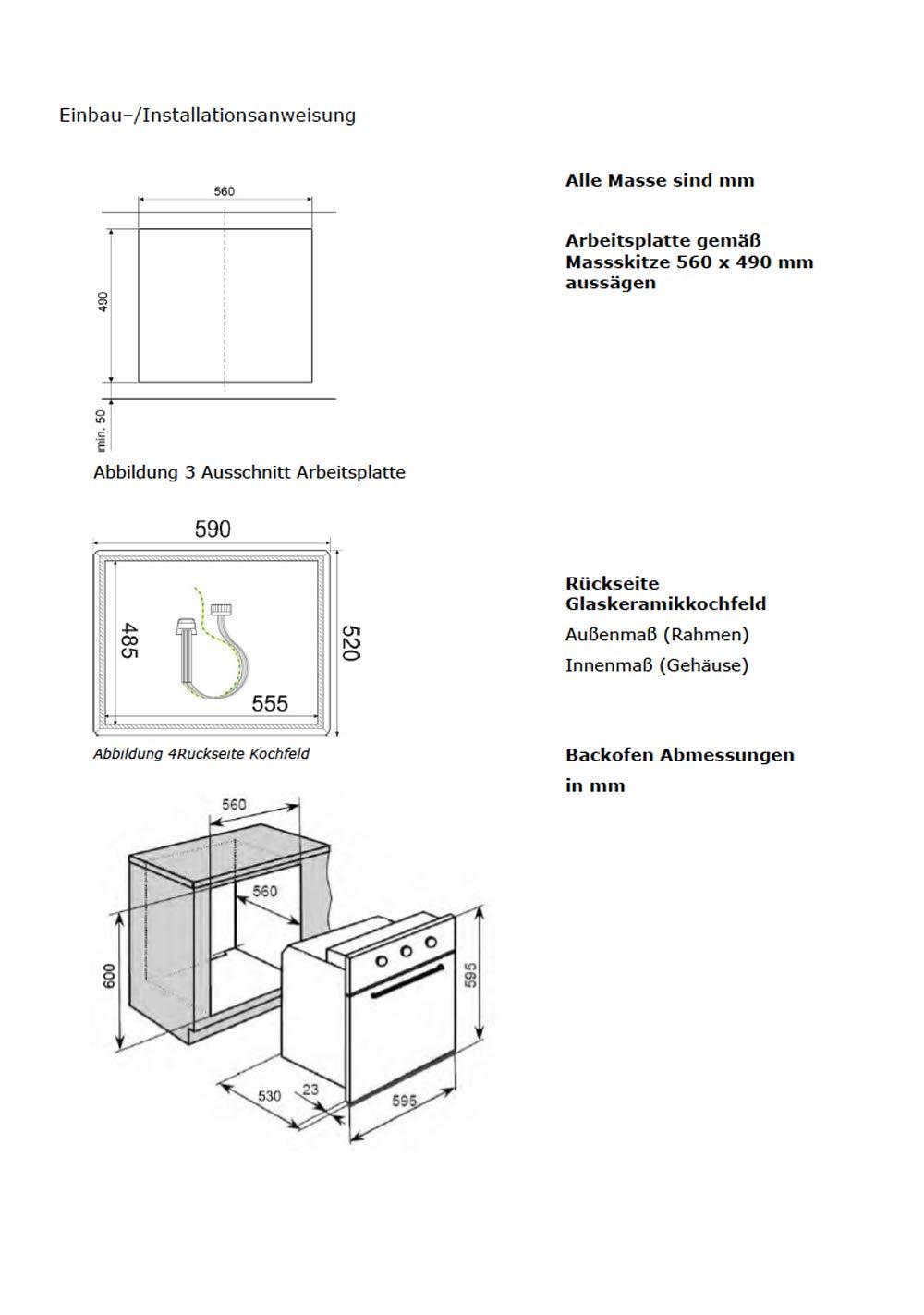 Einbauherdset Herd Ceran Kochfeld 2+1 Dualzone und eine Br/äterzone | Teleskopauszug TOP Preis-//Leistungsverh/ältnis
