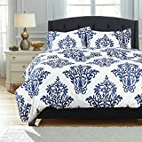 Bedsure 2pc Duvet Cover Set Reversible, Twin-XL, White-Blue Damask Deal (Small Image)