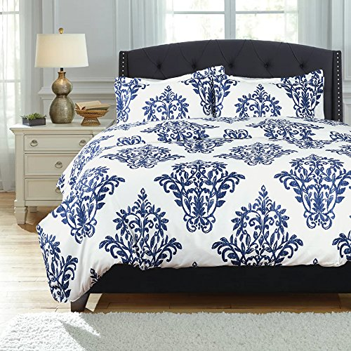 Printed Damask Pattern Duvet Cover Set with Zipper Closure Victoria Blue Modern Full/Queen (90