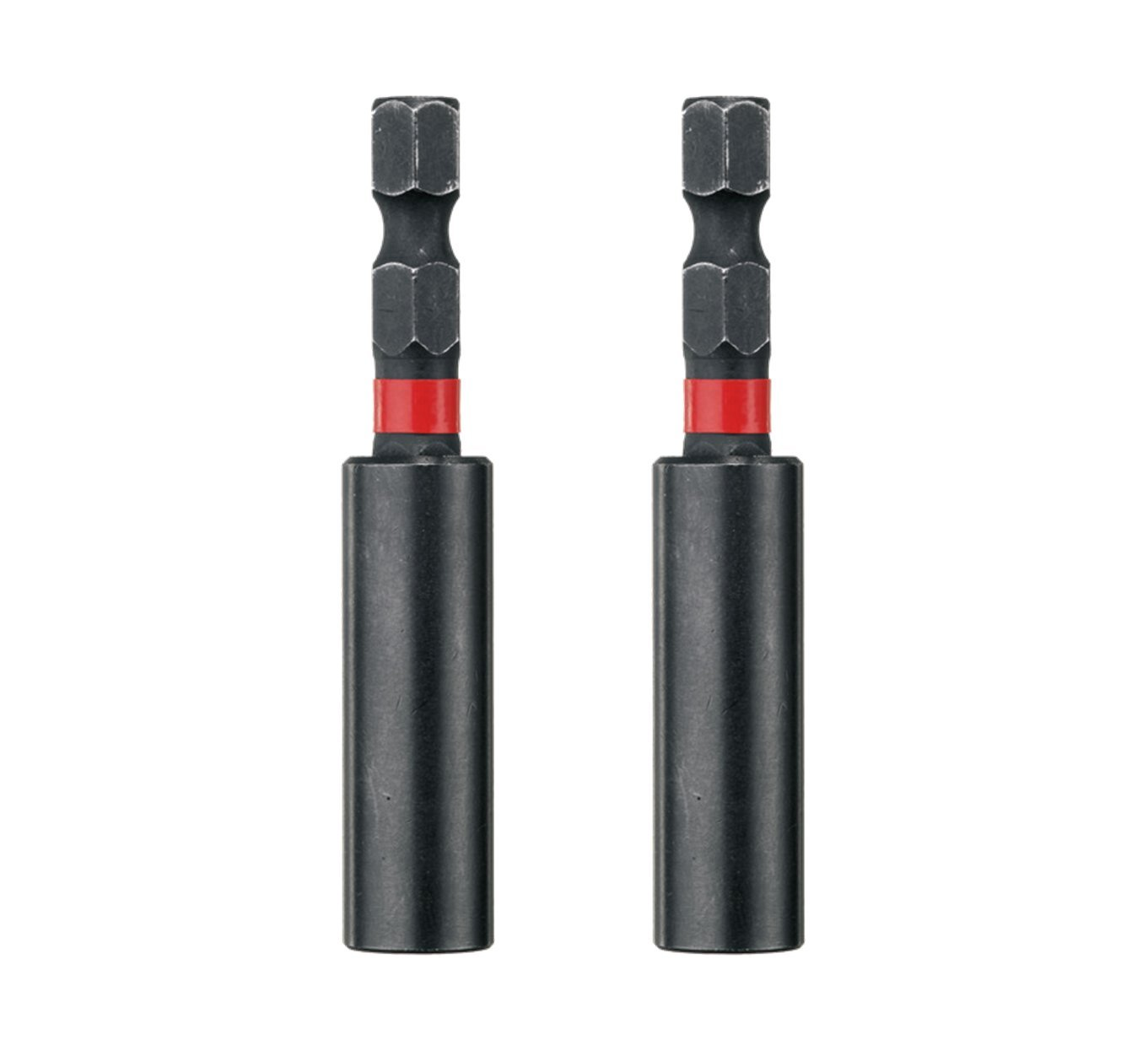 Milwaukee 5060342801517 Pack of 2 1/4' Hex Shockwave Duty Magnetic Impact Screwdriver Bit Holder, Black, Set of 2 Pieces