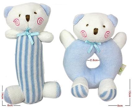 liketo 2pcs bebé suave Animal de peluche oso de peluche sonajero ...
