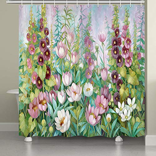 JAWO Spring Flower Shower Curtain for Bathroom,Blossom Floral Plants Botanical Nature Print Fabric Bathroom Decor Set with Shower Curtain Hooks