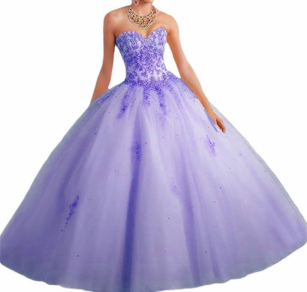 purplec CharmingBridal Beaded Applique Ball Gown Long Prom Quinceanera Dresses